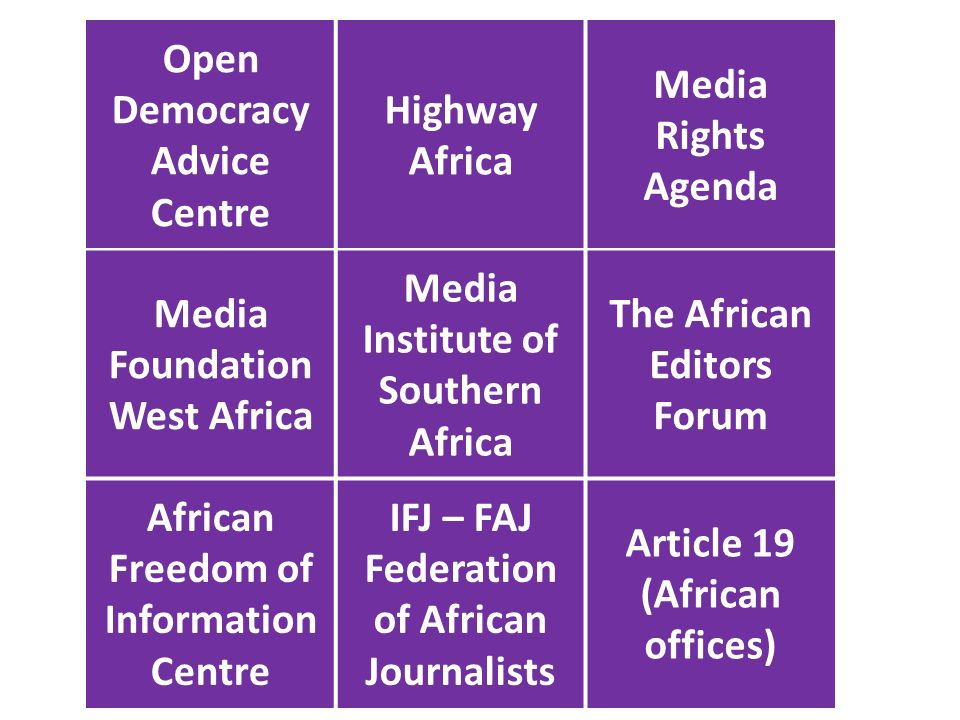 Open Democracy Advice Centre Highway Africa Media Rights Agenda Media Foundation West Africa Media Institute of Southern Africa The African Editors Forum African Freedom of Information Centre IFJ – FAJ Federation of African Journalists Article 19 (African offices)