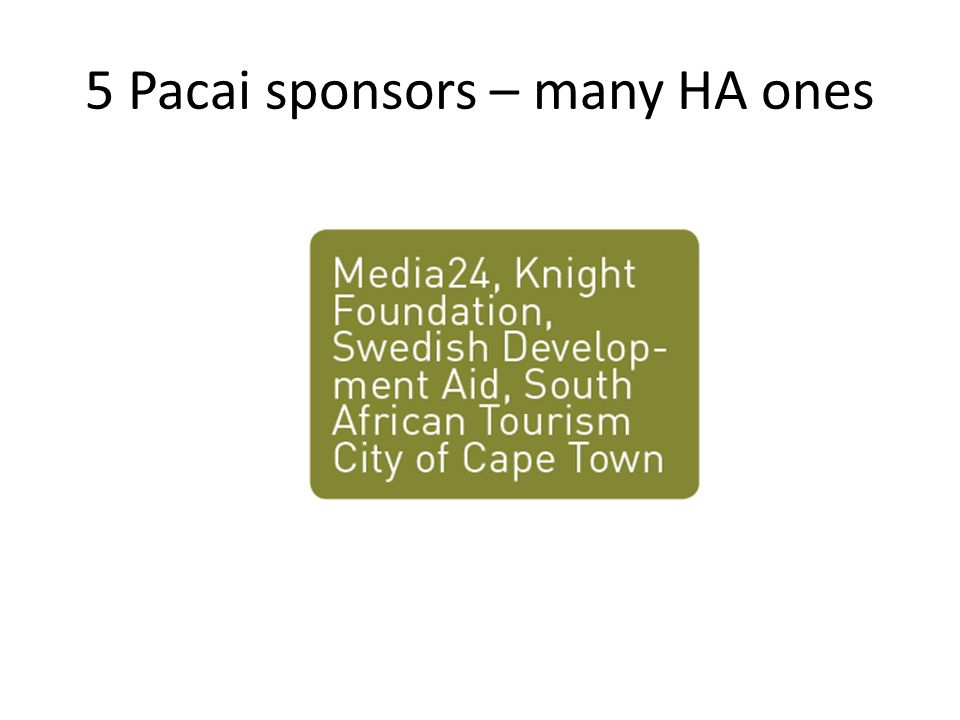 5 Pacai sponsors – many HA ones
