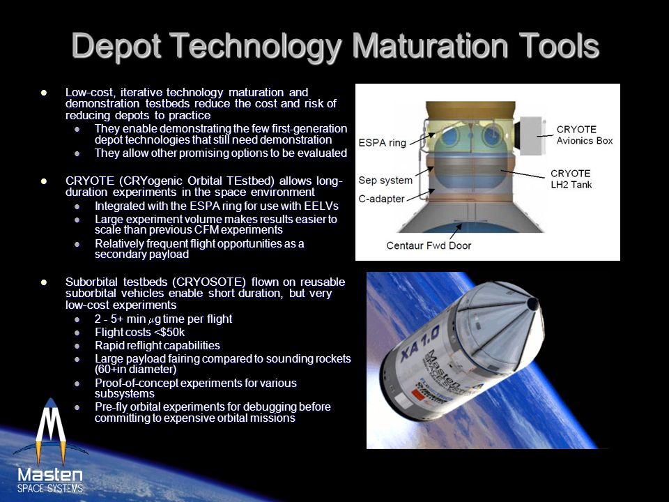 Depot Technology Maturation Tools Low-cost, iterative technology maturation and demonstration testbeds reduce the cost and risk of reducing depots to