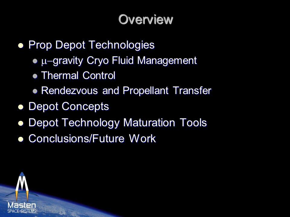 Overview Prop Depot Technologies Prop Depot Technologies gravity Cryo Fluid Management gravity Cryo Fluid Management Thermal Control Thermal Control R