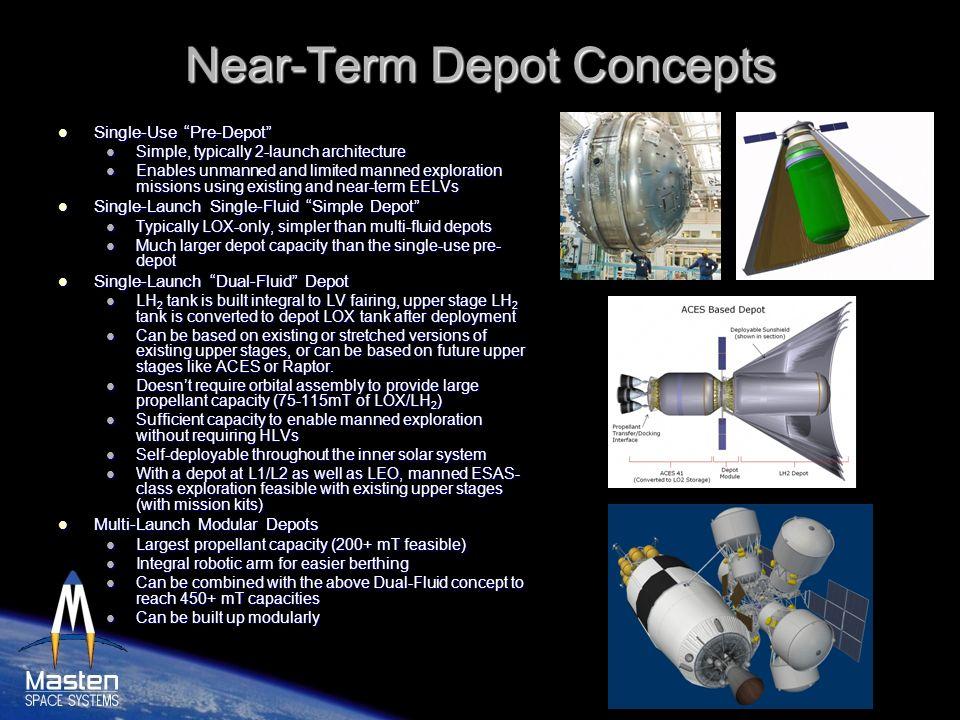 Near-Term Depot Concepts Single-Use Pre-Depot Single-Use Pre-Depot Simple, typically 2-launch architecture Simple, typically 2-launch architecture Ena