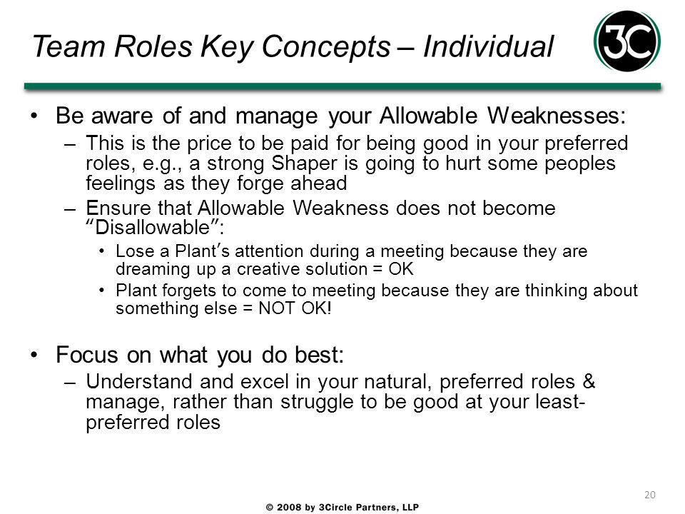 Team Roles Key Concepts – Individual Be aware of and manage your Allowable Weaknesses: –This is the price to be paid for being good in your preferred