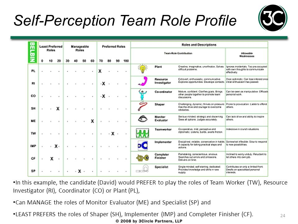 Self-Perception Team Role Profile 24 In this example, the candidate (David) would PREFER to play the roles of Team Worker (TW), Resource Investigator