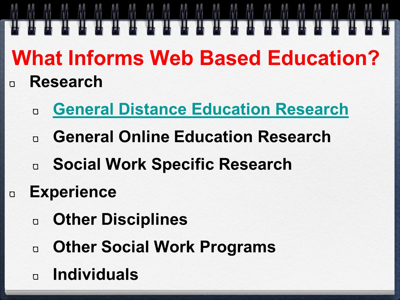 What Informs Web Based Education.