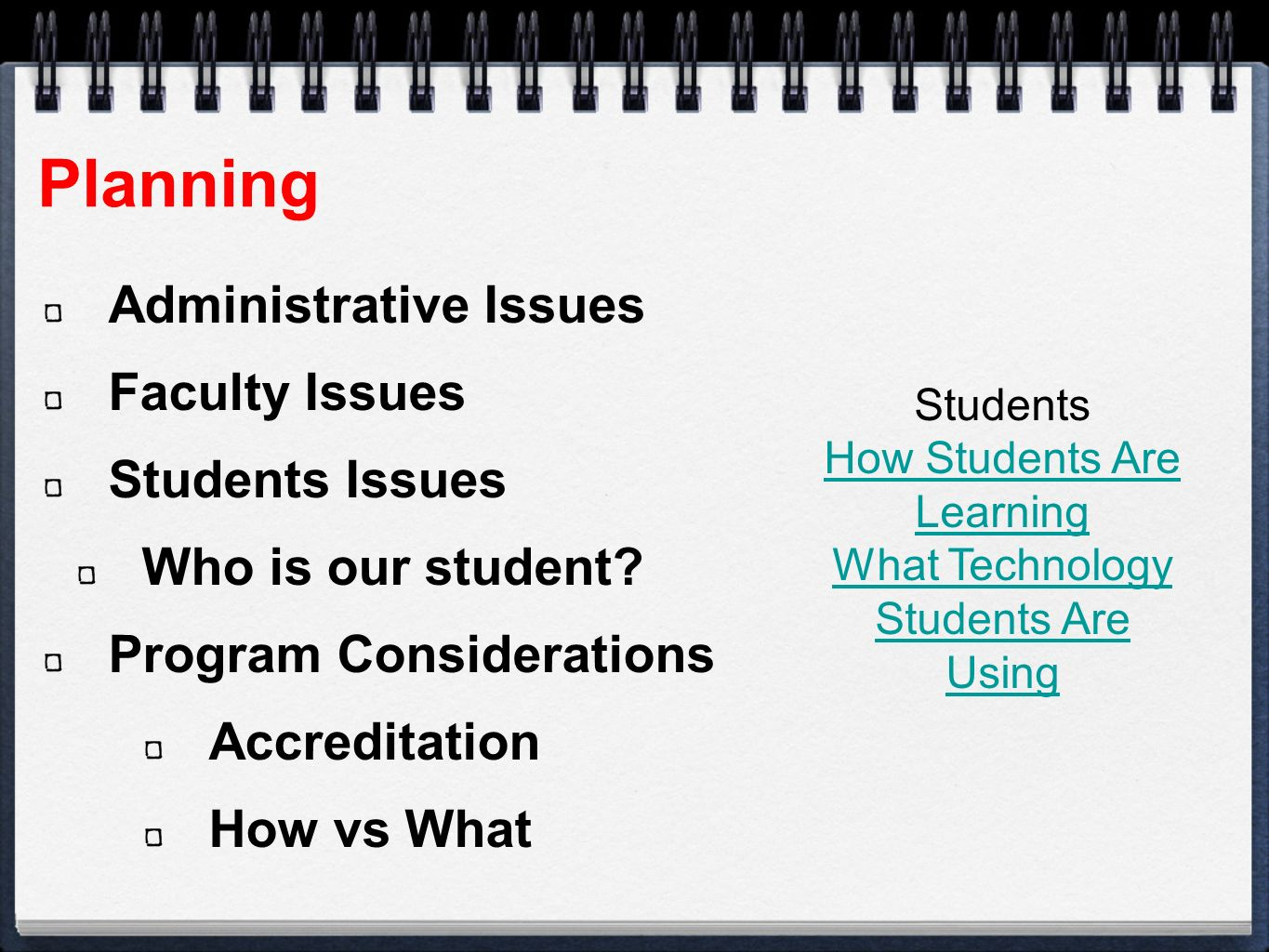 Planning Administrative Issues Faculty Issues Students Issues Who is our student.