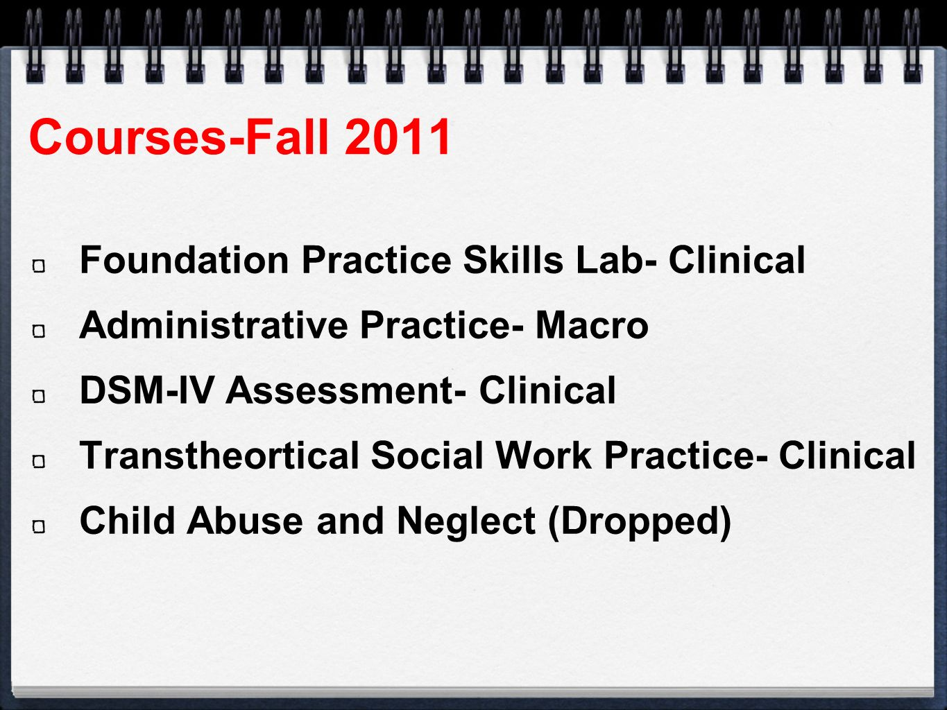 Courses-Fall 2011 Foundation Practice Skills Lab- Clinical Administrative Practice- Macro DSM-IV Assessment- Clinical Transtheortical Social Work Practice- Clinical Child Abuse and Neglect (Dropped)
