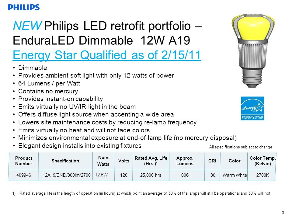 November 2009 3 Dimmable Provides ambient soft light with only 12 watts of power 64 Lumens / per Watt Contains no mercury Provides instant-on capability Emits virtually no UV/IR light in the beam Offers diffuse light source when accenting a wide area Lowers site maintenance costs by reducing re-lamp frequency Emits virtually no heat and will not fade colors Minimizes environmental exposure at end-of-lamp life (no mercury disposal) Elegant design installs into existing fixtures All specifications subject to change Product Number Specification Nom.