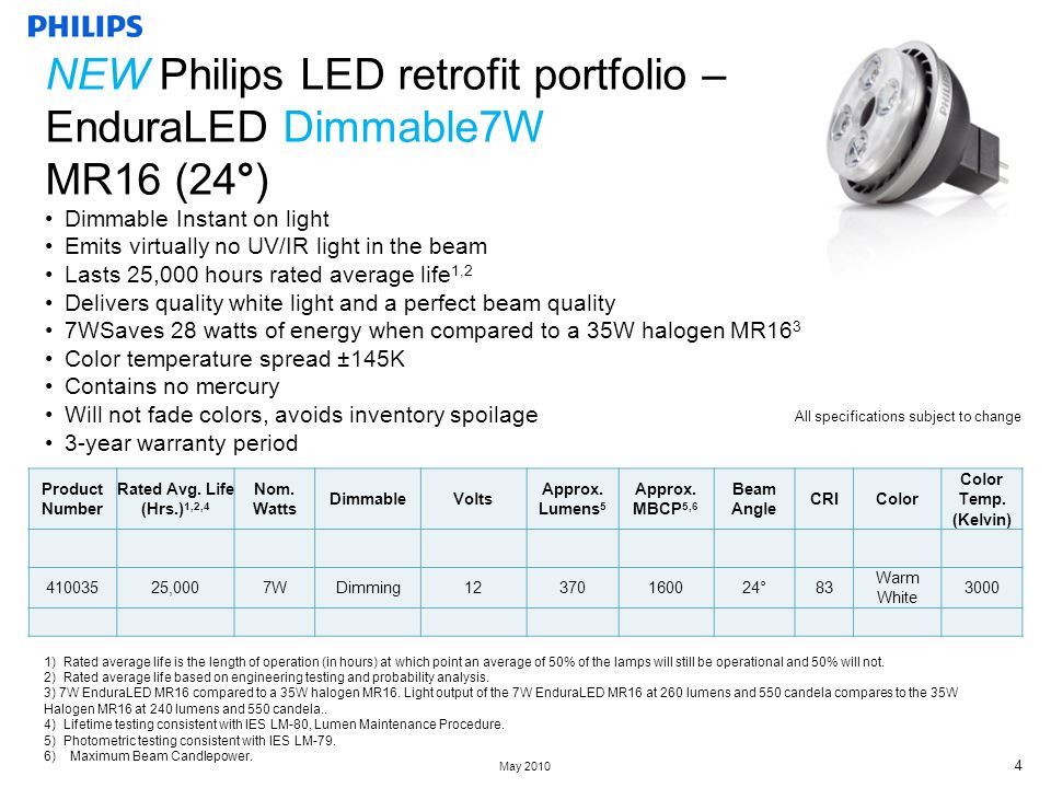 May Dimmable Instant on light Emits virtually no UV/IR light in the beam Lasts 25,000 hours rated average life 1,2 Delivers quality white light and a perfect beam quality 7WSaves 28 watts of energy when compared to a 35W halogen MR16 3 Color temperature spread ±145K Contains no mercury Will not fade colors, avoids inventory spoilage 3-year warranty period All specifications subject to change Product Number Rated Avg.