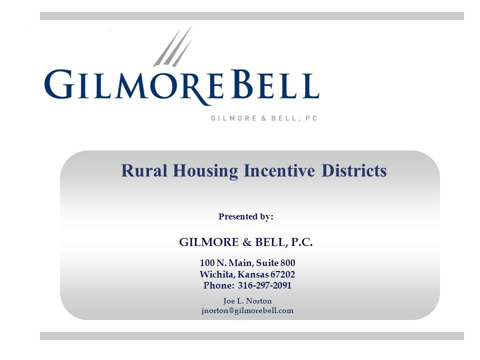 Rural Housing Incentive Districts 100 N.