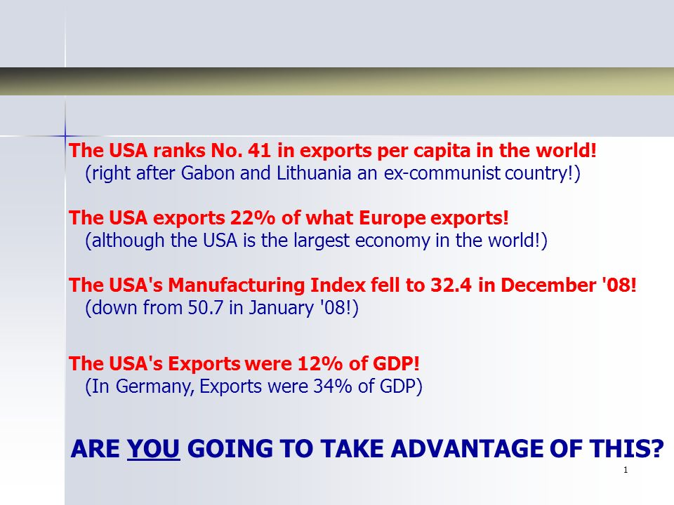2 Exporting America and Your Coming Economic Rebound Presented By: Oliver Sintobin, CEO
