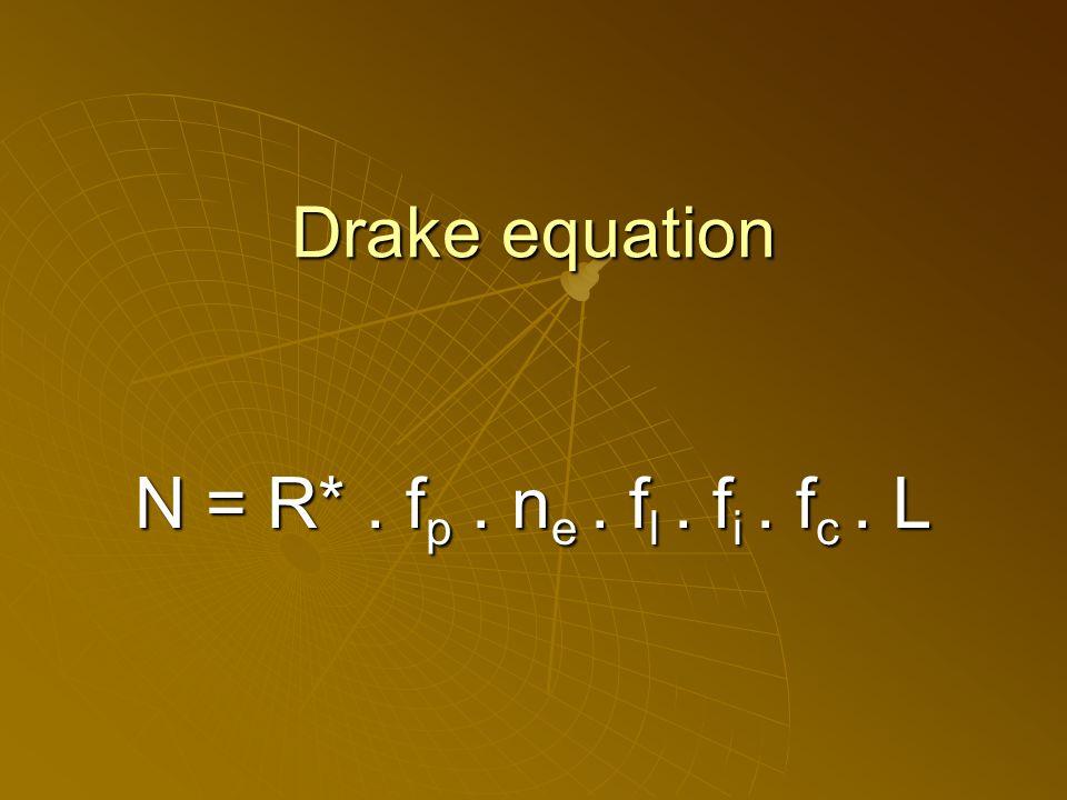 Drake equation N = R*. f p. n e. f l. f i. f c. L