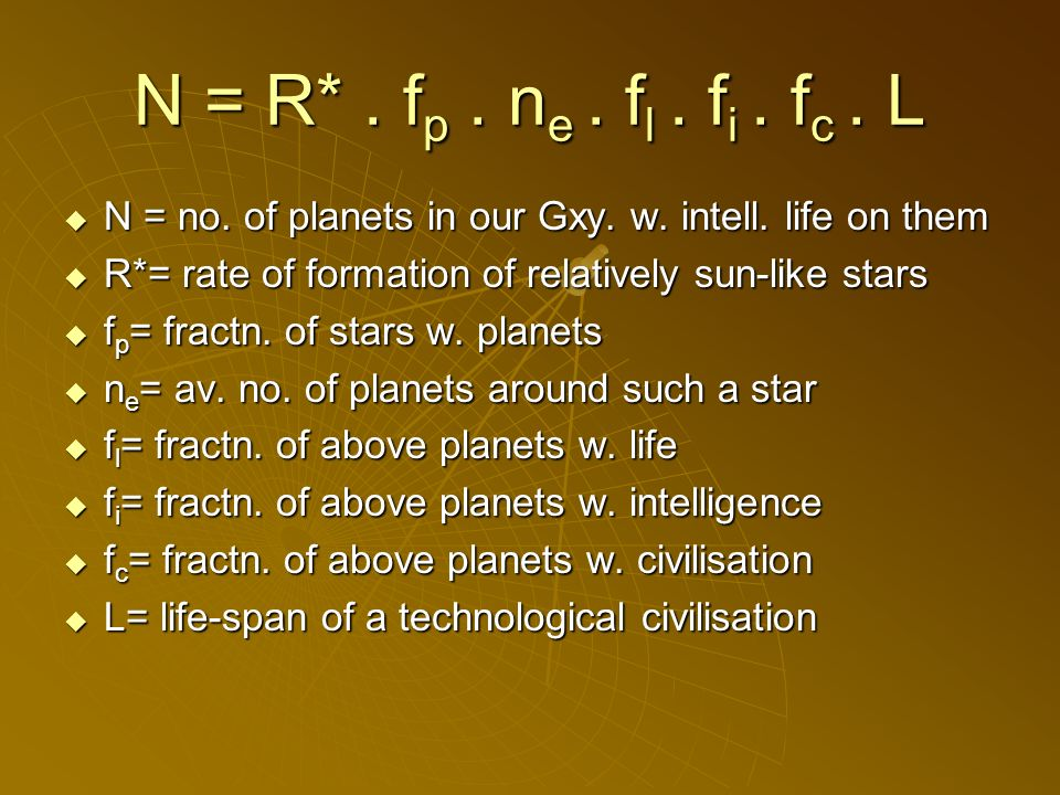 N = no. of planets in our Gxy. w. intell. life on them N = no.
