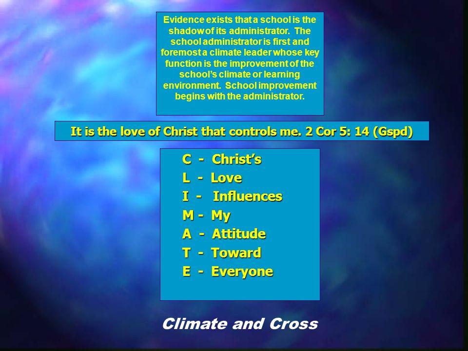 Epilogue C - Christs L - Love I - Influences M - My A - Attitude T - Toward E - Everyone