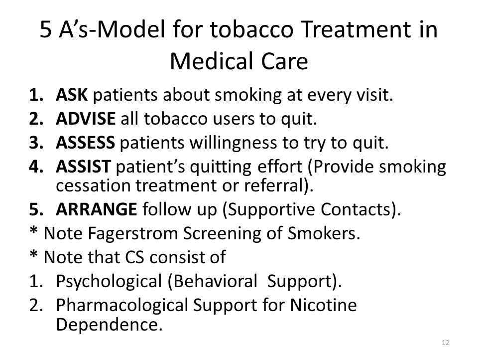 5 As-Model for tobacco Treatment in Medical Care 1.ASK patients about smoking at every visit. 2.ADVISE all tobacco users to quit. 3.ASSESS patients wi