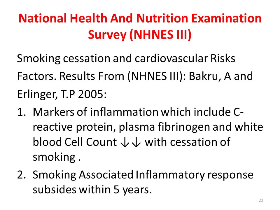National Health And Nutrition Examination Survey (NHNES III) Smoking cessation and cardiovascular Risks Factors. Results From (NHNES III): Bakru, A an