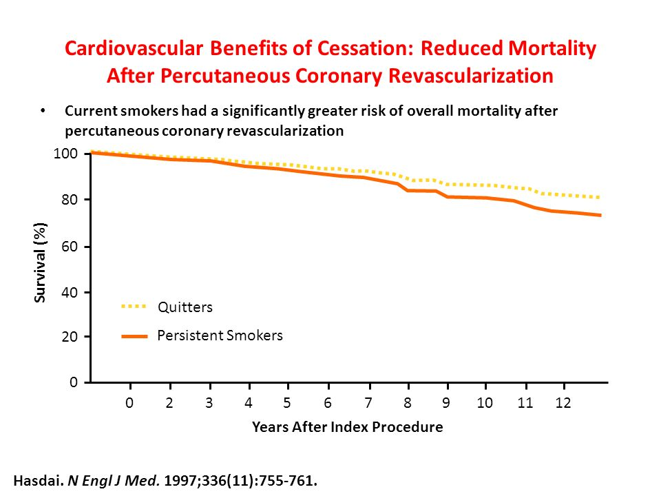 Cardiovascular Benefits of Cessation: Reduced Mortality After Percutaneous Coronary Revascularization Current smokers had a significantly greater risk