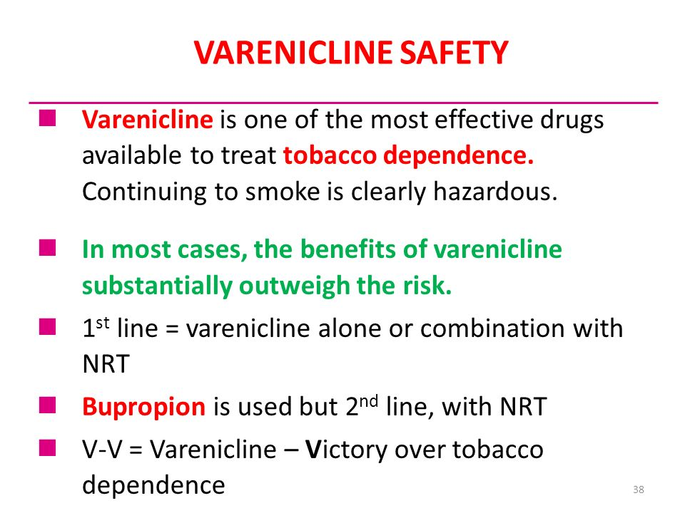 38 VARENICLINE SAFETY Varenicline is one of the most effective drugs available to treat tobacco dependence. Continuing to smoke is clearly hazardous.