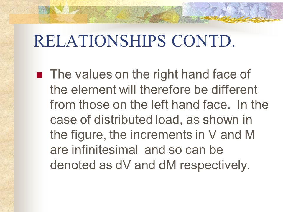 RELATIONSHIPS CONTD. The values on the right hand face of the element will therefore be different from those on the left hand face. In the case of dis