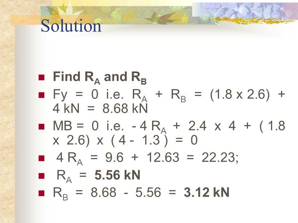 Solution Find R A and R B Fy = 0 i.e. R A + R B = (1.8 x 2.6) + 4 kN = 8.68 kN MB = 0 i.e. - 4 R A + 2.4 x 4 + ( 1.8 x 2.6) x ( 4 - 1.3 ) = 0 4 R A =
