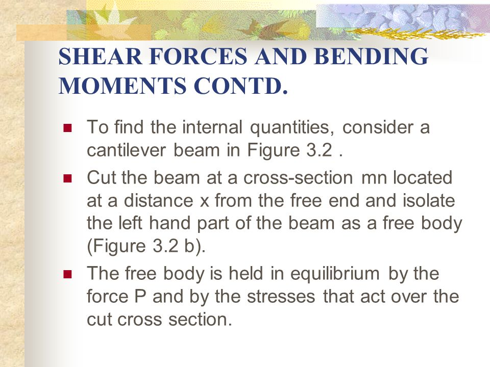 SHEAR FORCES AND BENDING MOMENTS CONTD. To find the internal quantities, consider a cantilever beam in Figure 3.2. Cut the beam at a cross-section mn