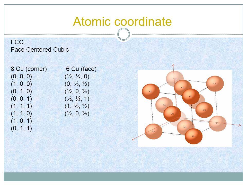 Atomic coordinate 8 Cu (corner) 6 Cu (face) (0, 0, 0) (½, ½, 0) (1, 0, 0) (0, ½, ½) (0, 1, 0) (½, 0, ½) (0, 0, 1) (½, ½, 1) (1, 1, 1) (1, ½, ½) (1, 1,