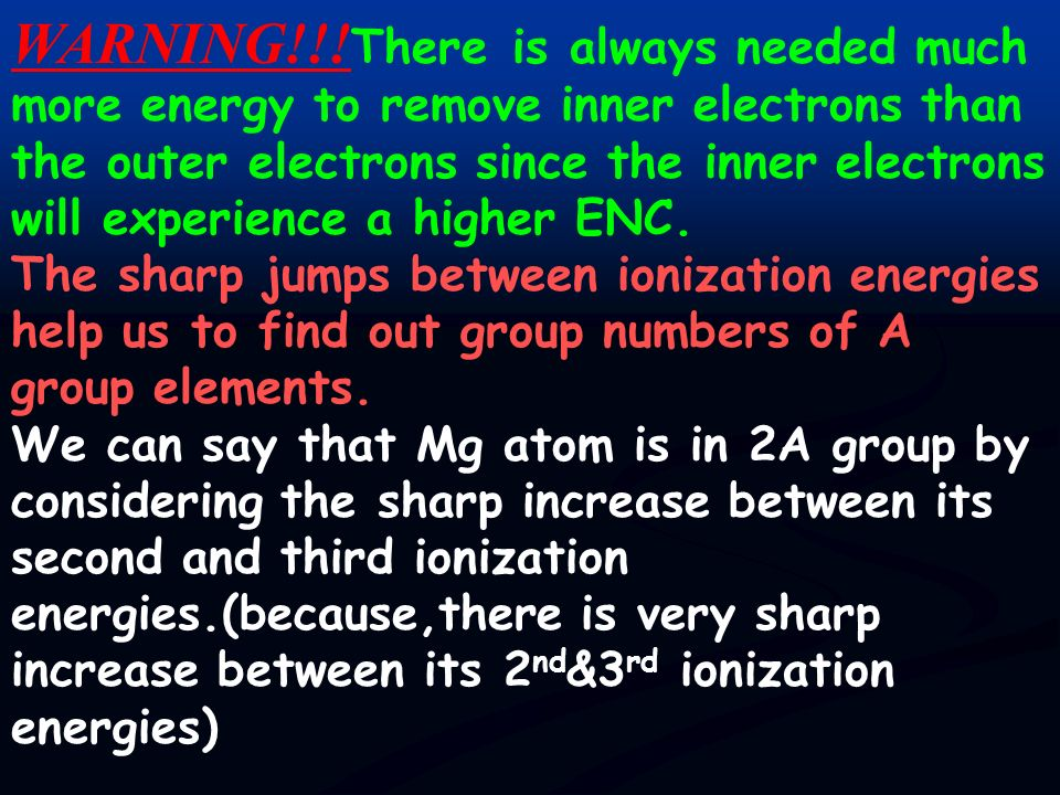 ***We can decide about the group number of A group elements by considering their ionization energy values. Mg (g) (1s 2 2s 2 2p 6 3s 2 )+I 1 (176Kcal/