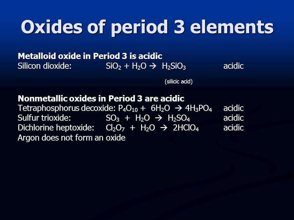Discuss the changes in nature, from ionic to covalent and from basic to acidic, of the oxides across period 3. Acidic/Basic Metallic oxides in Period