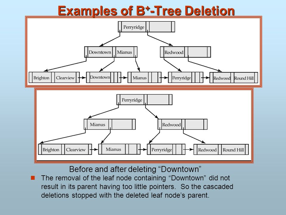 Examples of B + -Tree Deletion The removal of the leaf node containing Downtown did not result in its parent having too little pointers. So the cascad