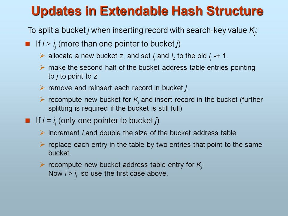 Updates in Extendable Hash Structure If i > i j (more than one pointer to bucket j) allocate a new bucket z, and set i j and i z to the old i j -+ 1.
