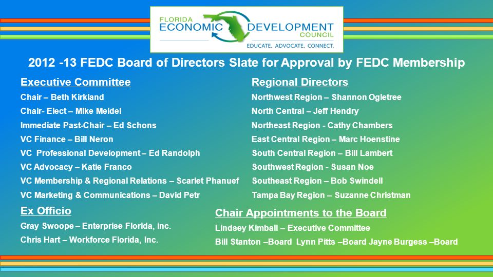 2012 -13 FEDC Board of Directors Slate for Approval by FEDC Membership Executive Committee Chair – Beth Kirkland Chair- Elect – Mike Meidel Immediate Past-Chair – Ed Schons VC Finance – Bill Neron VC Professional Development – Ed Randolph VC Advocacy – Katie Franco VC Membership & Regional Relations – Scarlet Phanuef VC Marketing & Communications – David Petr Regional Directors Northwest Region – Shannon Ogletree North Central – Jeff Hendry Northeast Region - Cathy Chambers East Central Region – Marc Hoenstine South Central Region – Bill Lambert Southwest Region - Susan Noe Southeast Region – Bob Swindell Tampa Bay Region – Suzanne Christman Ex Officio Gray Swoope – Enterprise Florida, inc.