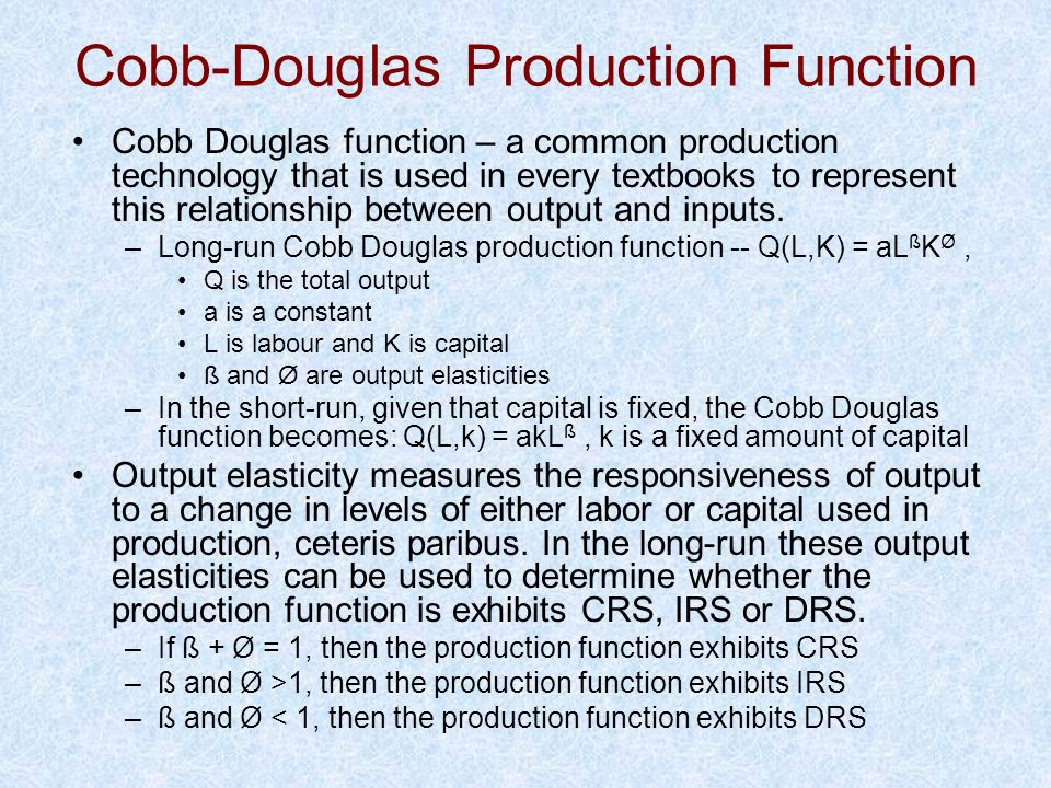 Cobb-Douglas Production Function Cobb Douglas function – a common production technology that is used in every textbooks to represent this relationship
