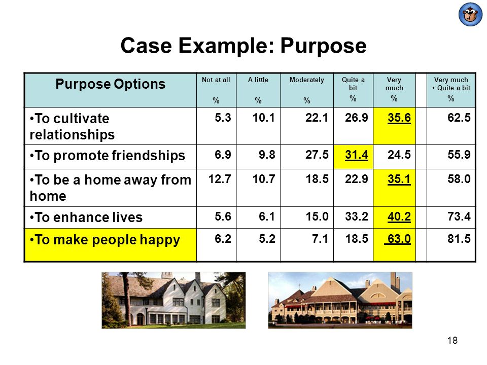 18 Purpose Options Not at all % A little % Moderately % Quite a bit % Very much % Very much + Quite a bit % To cultivate relationships 5.310.122.126.9