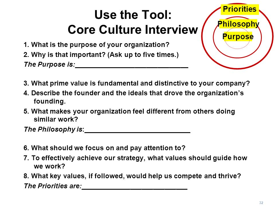 32 Use the Tool: Core Culture Interview 1. What is the purpose of your organization? 2. Why is that important? (Ask up to five times.) The Purpose is: