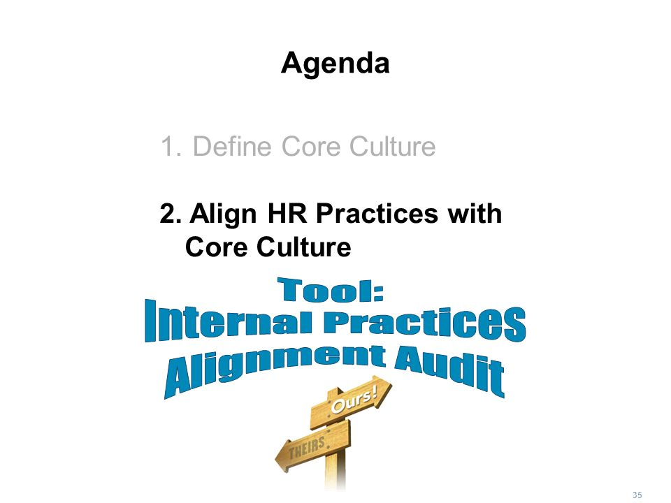 35 Agenda 1. Define Core Culture 2. Align HR Practices with Core Culture
