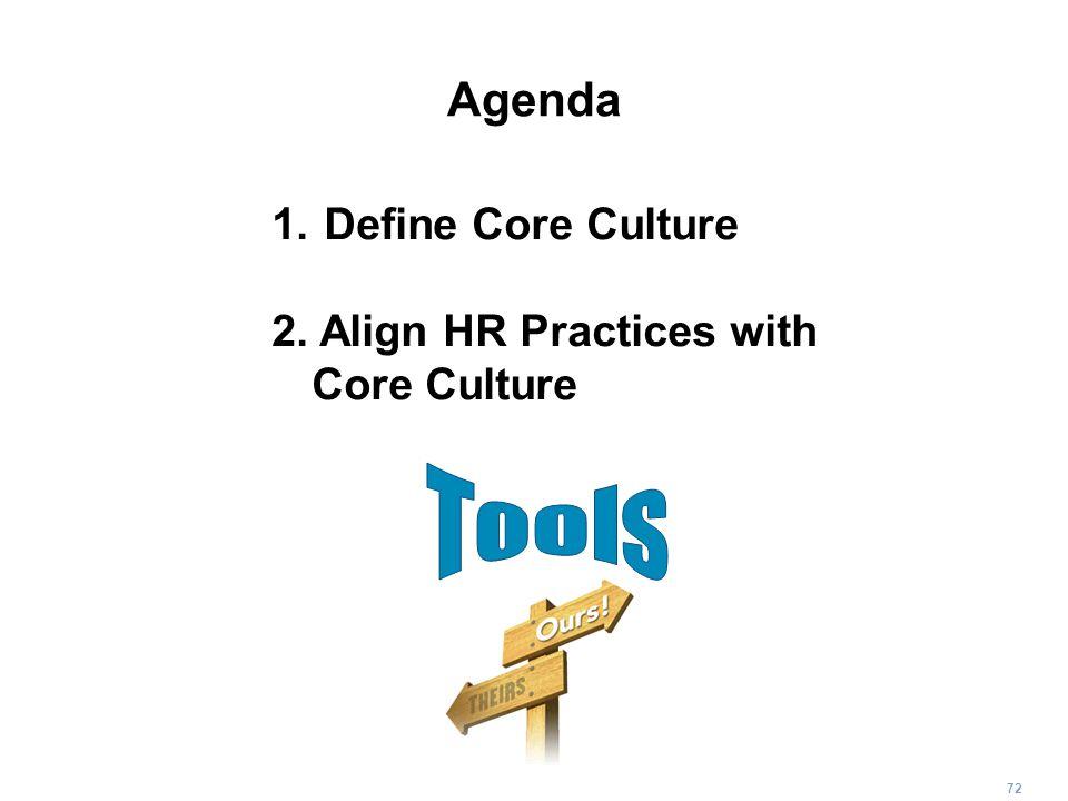 72 Agenda 1. Define Core Culture 2. Align HR Practices with Core Culture