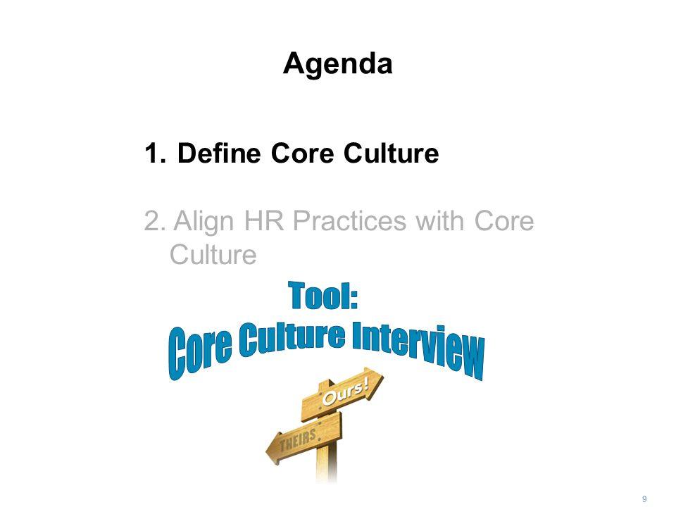 9 Agenda 1. Define Core Culture 2. Align HR Practices with Core Culture