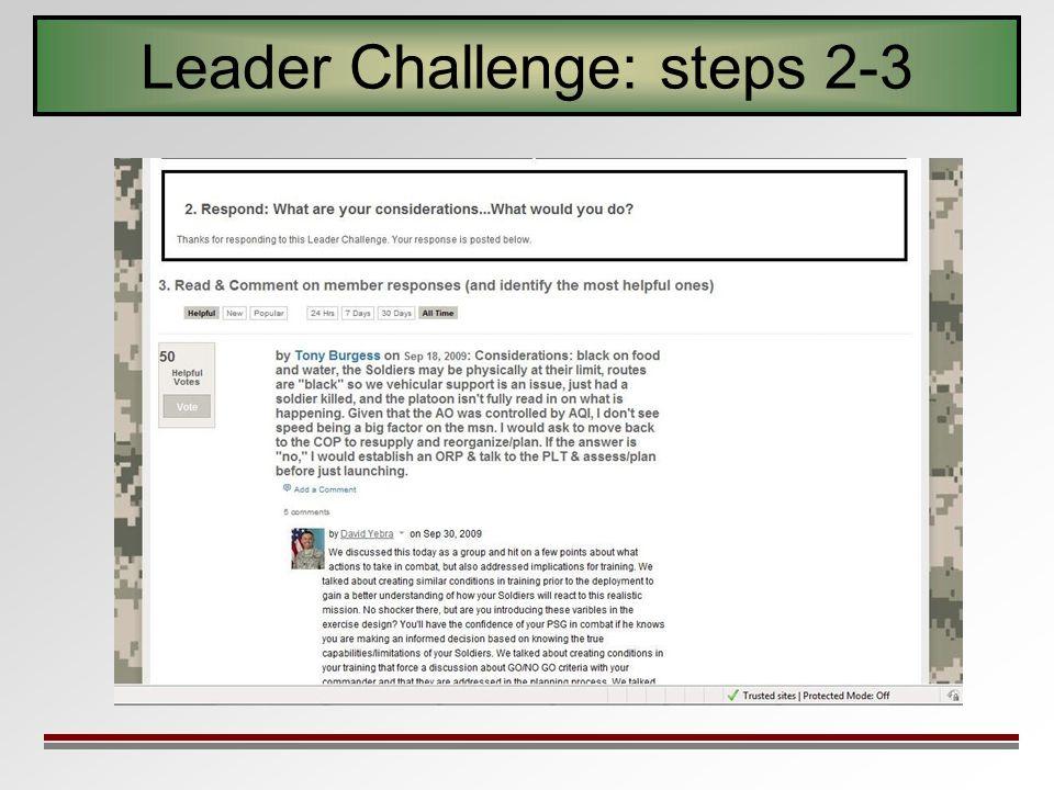 Leader Challenge: steps 2-3