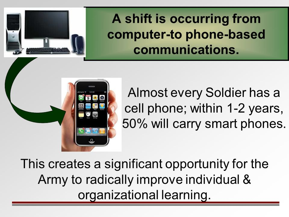 A shift is occurring from computer-to phone-based communications. Almost every Soldier has a cell phone; within 1-2 years, 50% will carry smart phones