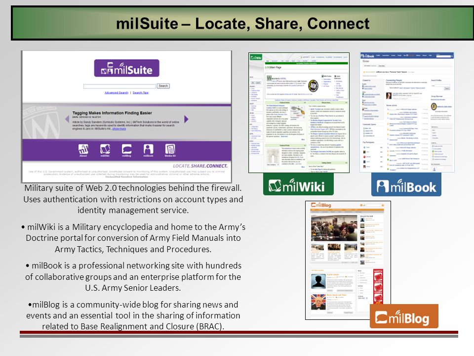 milSuite – Locate, Share, Connect Military suite of Web 2.0 technologies behind the firewall. Uses authentication with restrictions on account types a