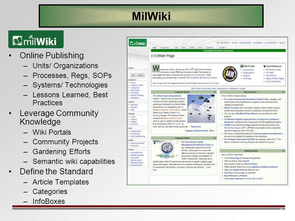 31 MilWiki Online Publishing –Units/ Organizations –Processes, Regs, SOPs –Systems/ Technologies –Lessons Learned, Best Practices Leverage Community K