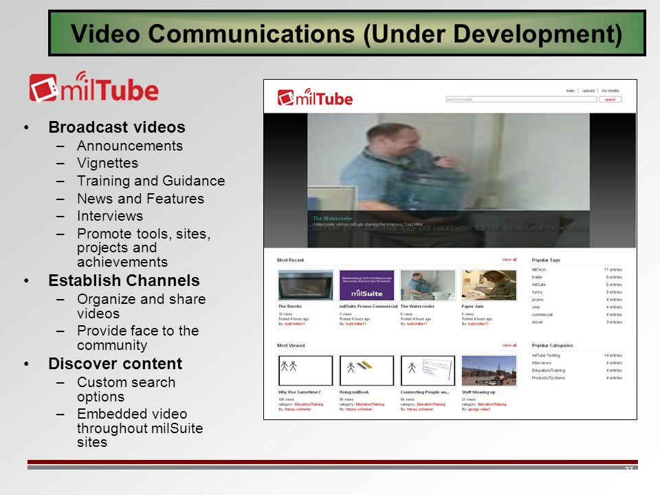 37 Video Communications (Under Development) Broadcast videos –Announcements –Vignettes –Training and Guidance –News and Features –Interviews –Promote tools, sites, projects and achievements Establish Channels –Organize and share videos –Provide face to the community Discover content –Custom search options –Embedded video throughout milSuite sites