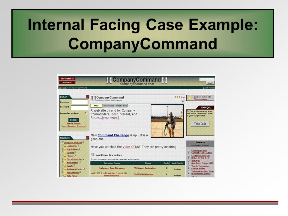 Internal Facing Case Example: CompanyCommand