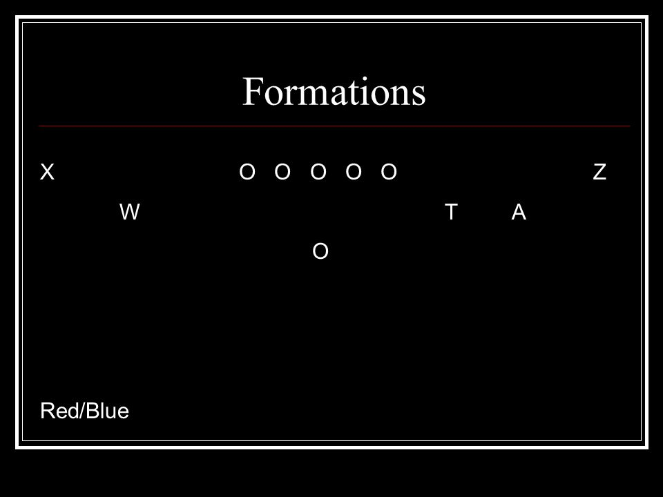 Formations X O O O O O Z W T A O Red/Blue