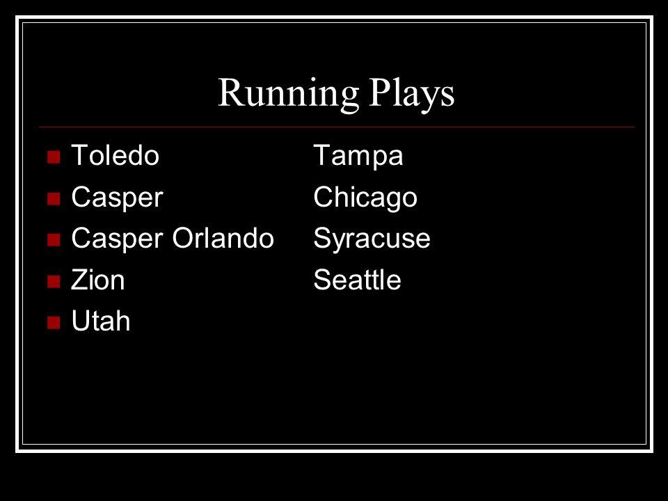 Running Plays ToledoTampa CasperChicago Casper OrlandoSyracuse ZionSeattle Utah