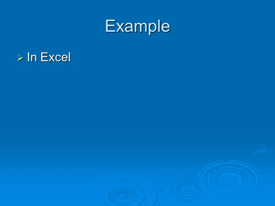 Example In Excel In Excel