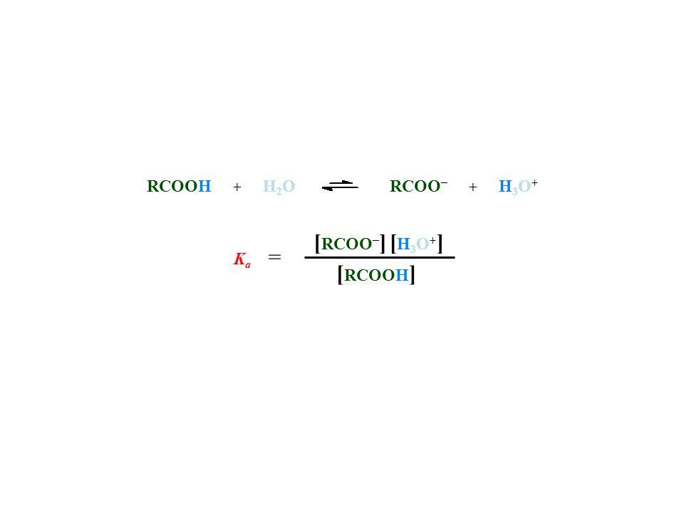 RCOOH + H 2 ORCOO – + H 3 O + [ RCOOH ] [ RCOO – ][H3O+][H3O+] K a =