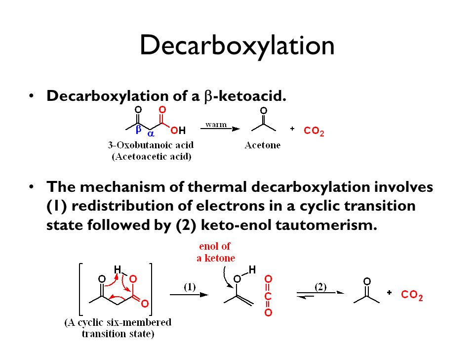 Decarboxylation Decarboxylation of a -ketoacid. The mechanism of thermal decarboxylation involves (1) redistribution of electrons in a cyclic transiti