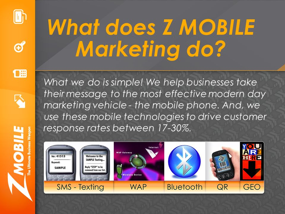 What does Z MOBILE Marketing do. What we do is simple.
