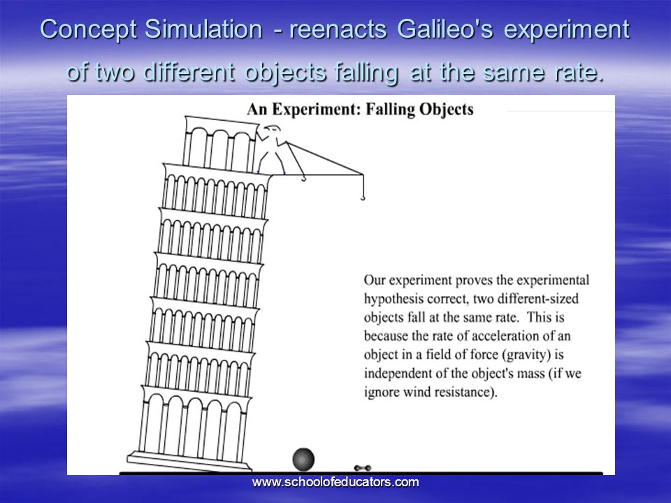 Concept Simulation - reenacts Galileo s experiment of two different objects falling at the same rate.