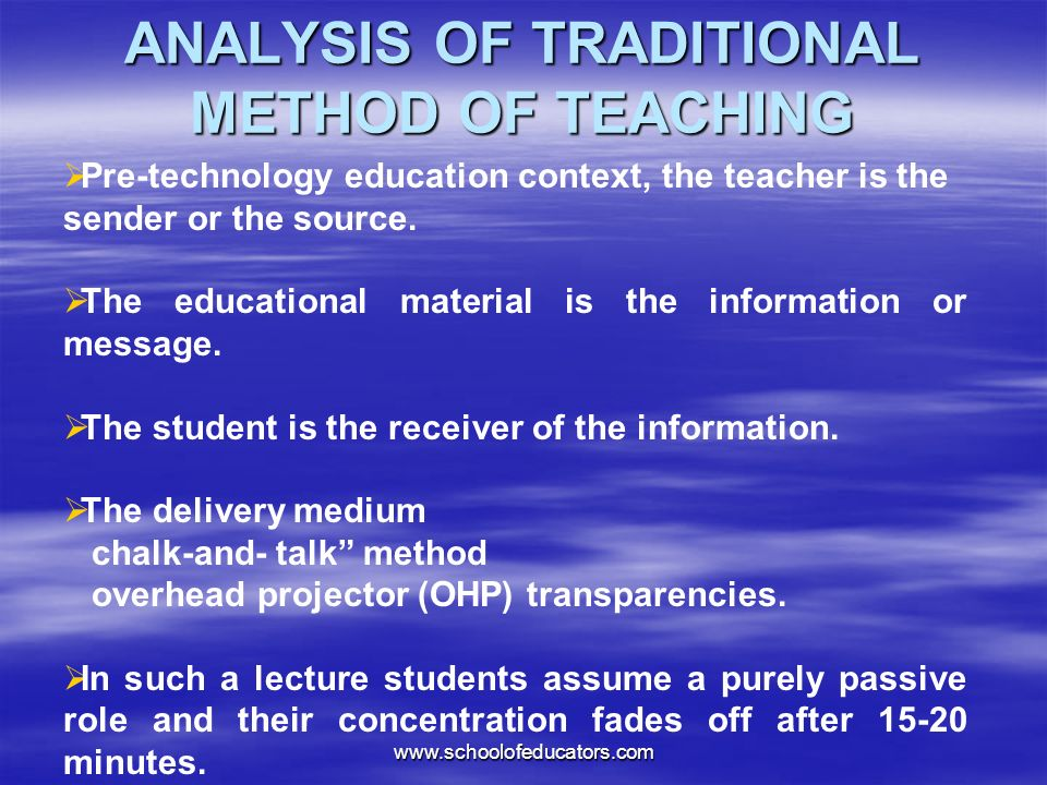 Pre-technology education context, the teacher is the sender or the source.